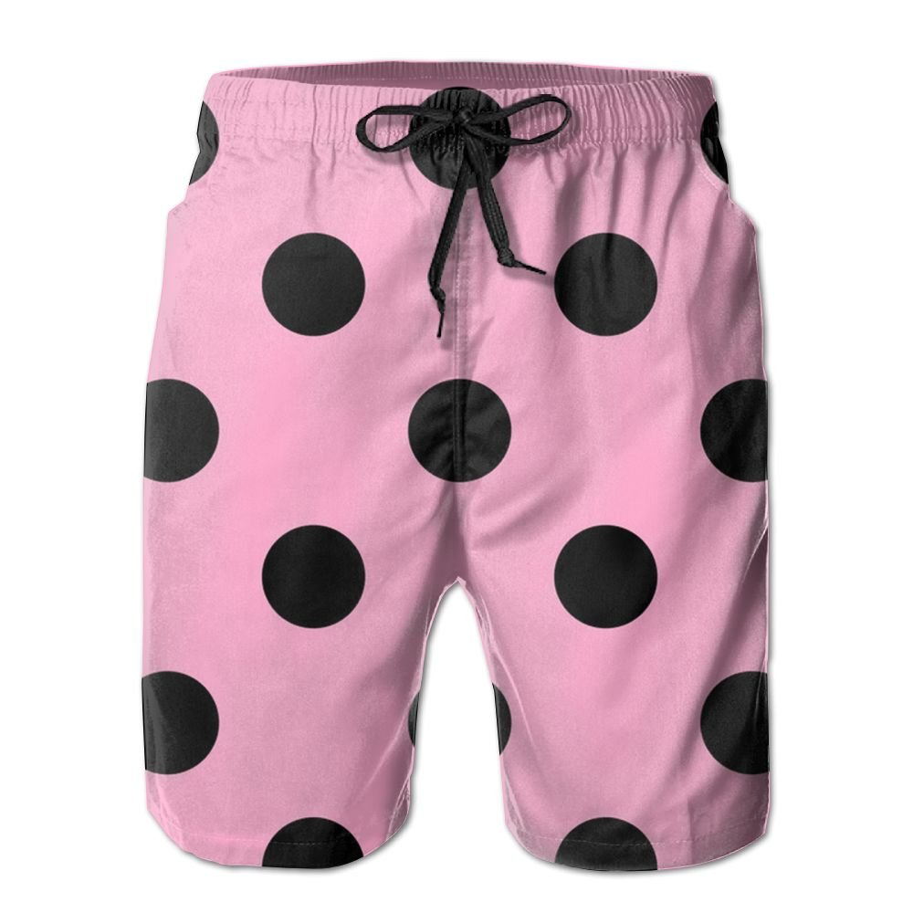SARA NELL Mens Polka Dot Pink Breathable Beach Board Shorts Swim Trunks Quick Dry
