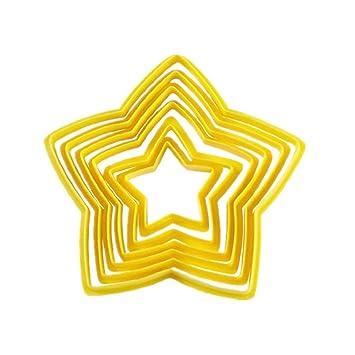 OHQ moldes de galletas Pentagram amarillo DIY Galletas Cake Cutter moulessilicone Patisserie Original Tefal 3d corazón ...