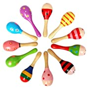 10pcs Colorful Sand Hammer Rattle Infant Mini Wooden Maracas Child Instrument Baby Shaker Children Toy