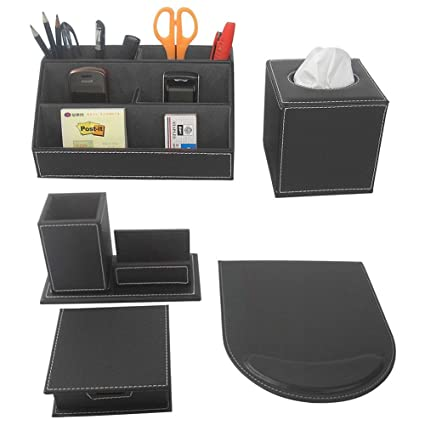 Delightful KINGFOM 5PCS/SET Office Accessories Desk Organizer Sets Leatherette  Supplies, Tissue Holder, Mouse