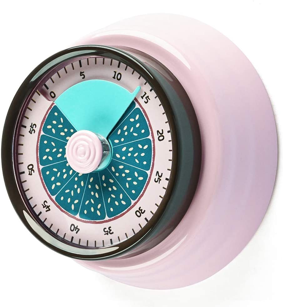 Kitchen Timer,Magnetic Countdown Timer with Loud Alarm Clock for kids Teacher Elderly,No Batteries Required 100% Mechanical Stainless Steel for Baking Cooking Steaming… (PINK)