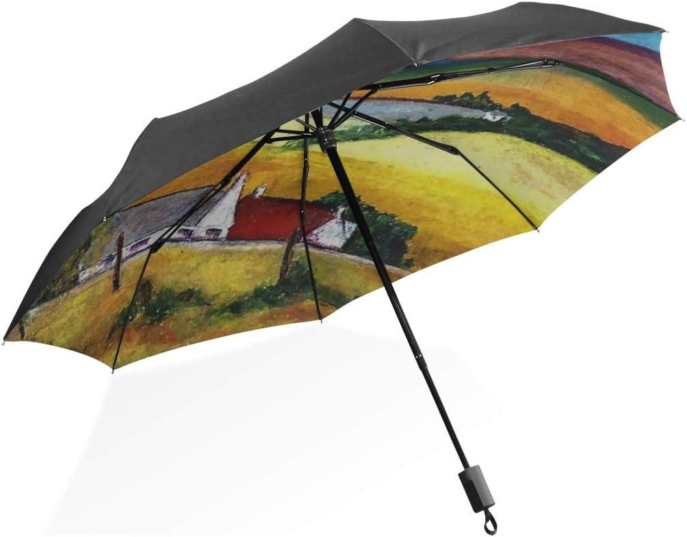 Umbrella Rain Women Oil Pastel Artwork Paper Landscape Portable Compact Folding Umbrella Anti Uv Protection Windproof Outdoor Travel Women Reversable Umbrella Large
