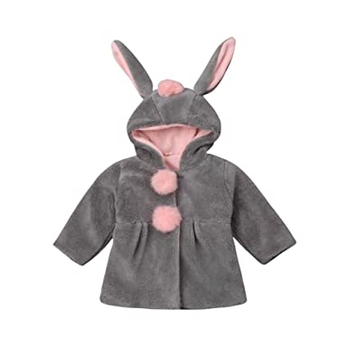 595cf06c9 Amazon.com  Baby Girl Winter Woolen Coat Kid Long Sleeve Bunny ...