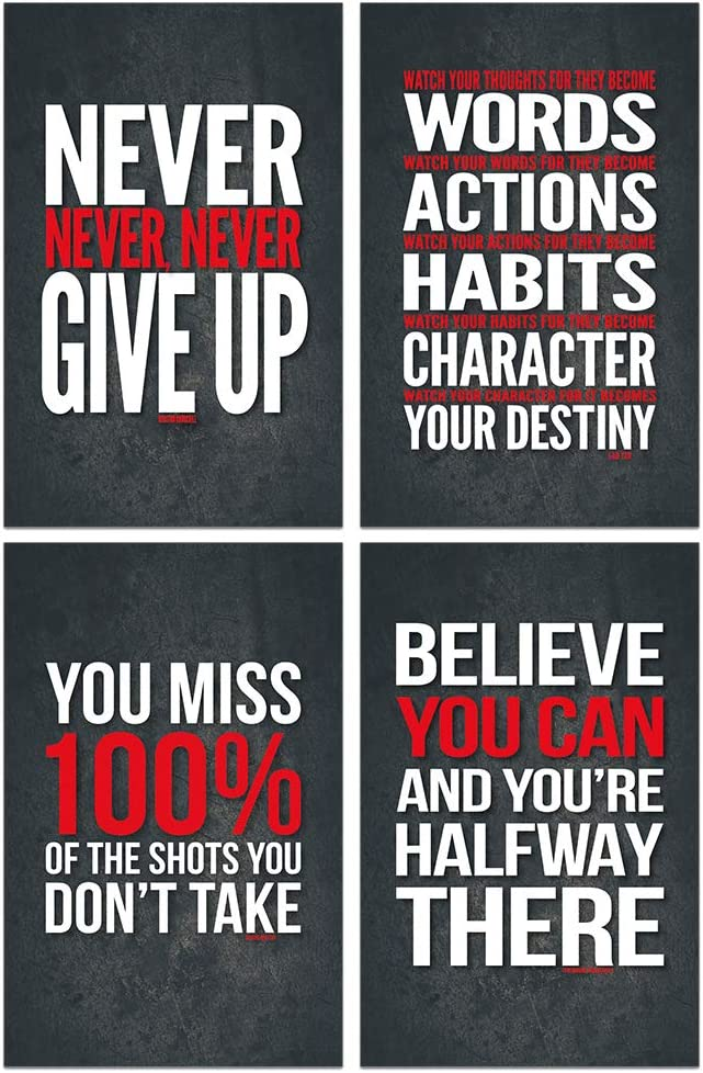 Lushleaf Designs - Motivational Quote Workout Gym Posters - 11 x 17 Inches - Classroom and Office Wall Art - Black Matte Finish Paper Poster - 4 Quote Per Set
