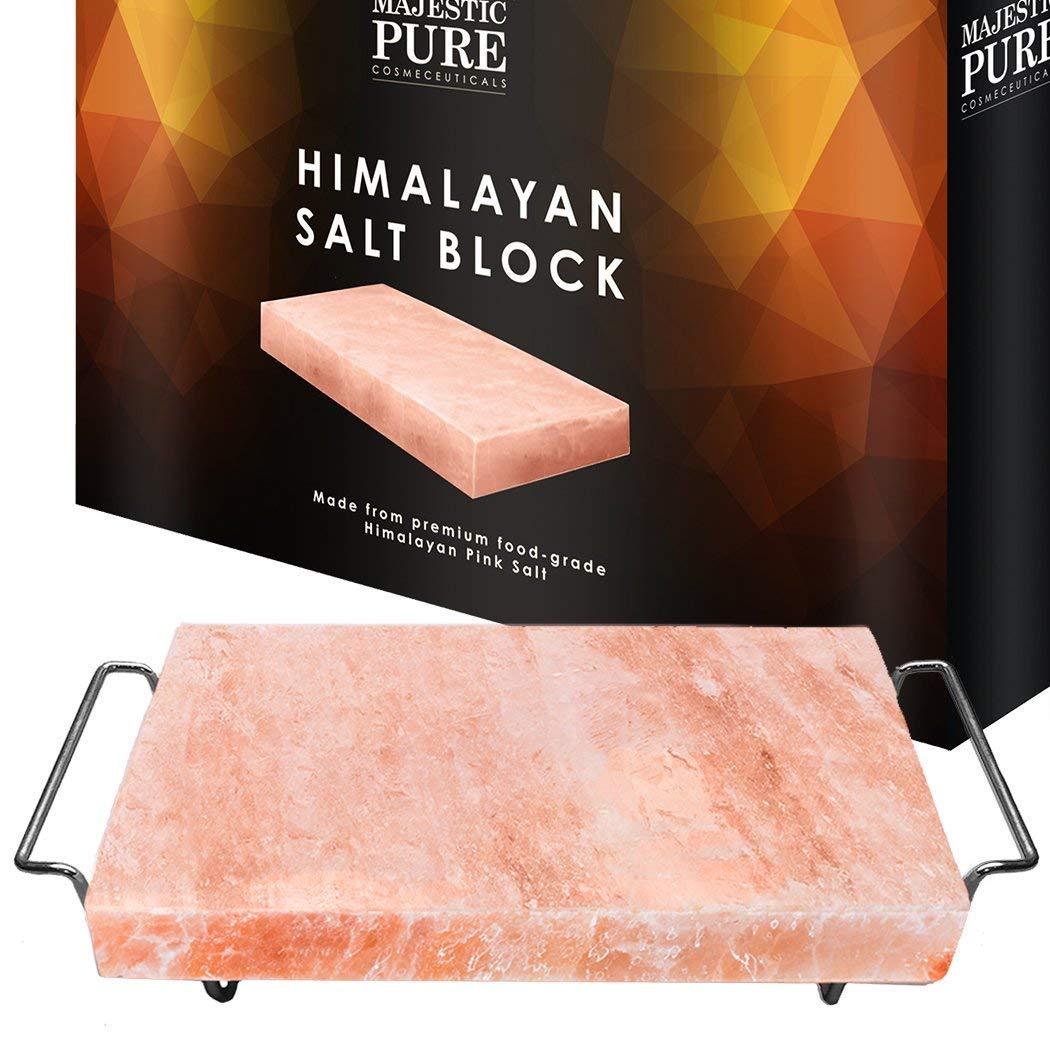 Majestic Pure Pink Himalayan Salt Block - with Stainless Steel Holder - 12in x 8in x 1.5in by Majestic Pure (Image #4)