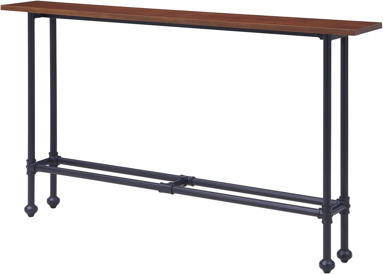 Furniture HotSpot – Skinny Sofa Table Slim Console Table – Dark Brown with  Black Metal Frame