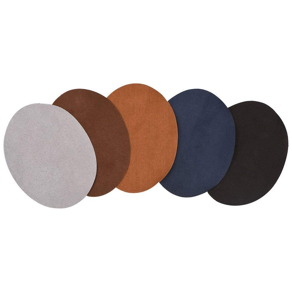 10Pcs Oval Shape PU Leather Patch For Jean Jackets Sewing Elbow Knee Patches Clothing Accessories Walfront