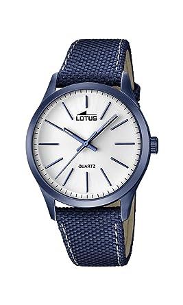 Lotus 18166/1 - Reloj de Pulsera Hombre, Cuero, Color Azul: Amazon.es: Relojes