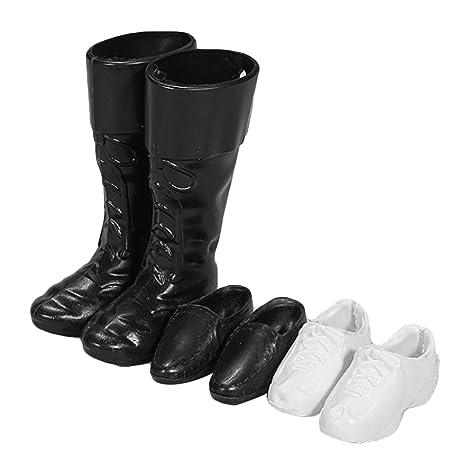fb68fc2cd08 3 pares de zapatos de muñeca zapatillas de deporte blanco zapatos formales  negro botas accesorios para