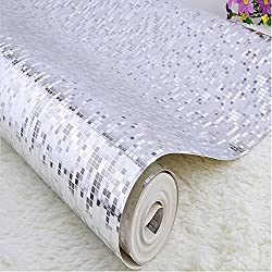 QIHANG Luxury Gold Foil Mosaic Background Flicker Wall Paper Modern Roll/hotel Ceiling/decorative Wallpaper Roll Silver Colour