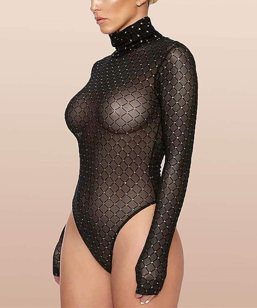 Khaleesi Womens High Neck Mesh Long Sleeve Rhinestone See Through Bodysuit