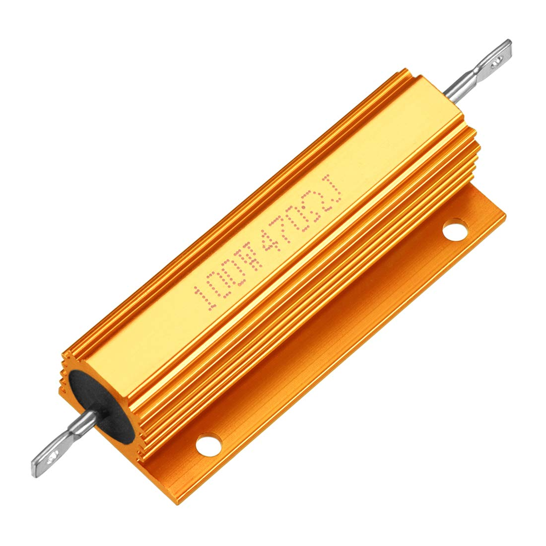 uxcell Aluminum Case Resistor Extra Wire 100W 2 Ohm Wirewound Gold for LED Replacement Converter 100W 2RJ