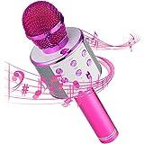 Micrófono Inalámbrico Bluetooth,Micrófono Karaoke Bluetooth,Portátil Inalámbrica Micrófono y Altavoz del Karaoke con LED para