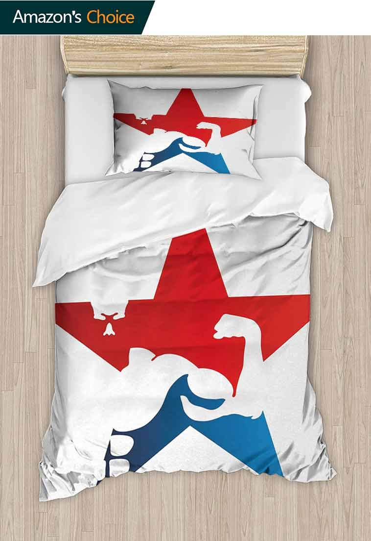 Fitness Printed Duvet Cover and Pillowcase Set, Athlete Bodybuilder Silhouette in a Star Shape Pow, 100% Microfiber Bedding Sets Queen with Zipper Closure, Lightweight and Ultra Soft Red Blue White