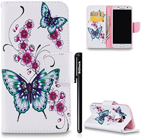 BtDuck Kompatibel mit Handyhülle Samsung Galaxy S7 Hülle Schmetterling Muster Holster Tasche Leder Flip Magnet Brieftasche Damen Geschenk Geldbörse Cover Credit Card Slots Soft Silikon Backcover