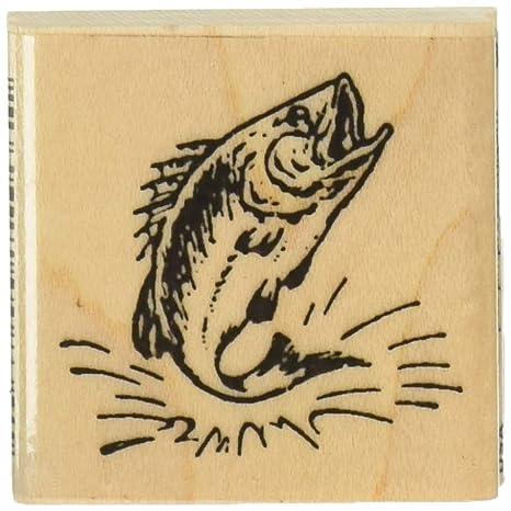 Amazon.com: Bass Pescado Sello de hule – 1 – 1/2 inches X 1 ...