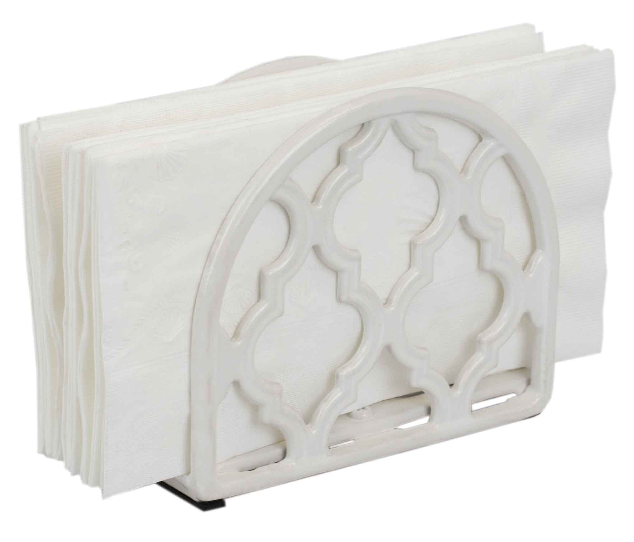 Home Basics Lattice Collection Cast Iron Napkin Holder (White)