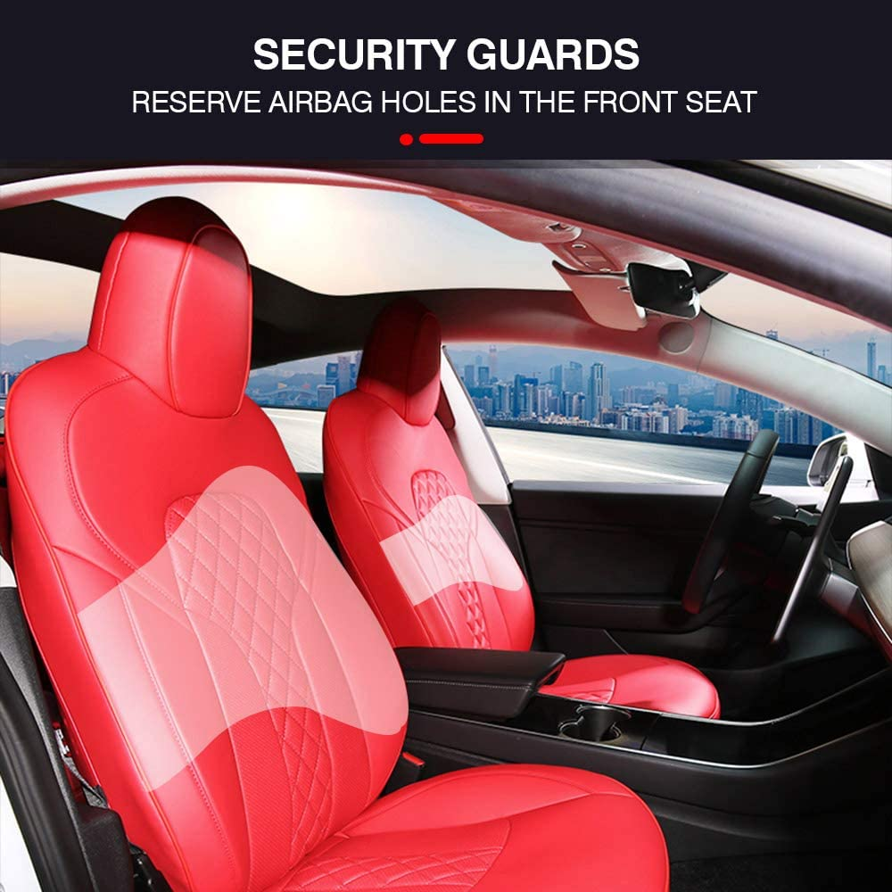 Black Mixsuper Seat Cover Custom Fit Model 3 Waterproof PU Leather All Weather Whole Surrounded Seat Protector for Tesla Model 3 2016-2020