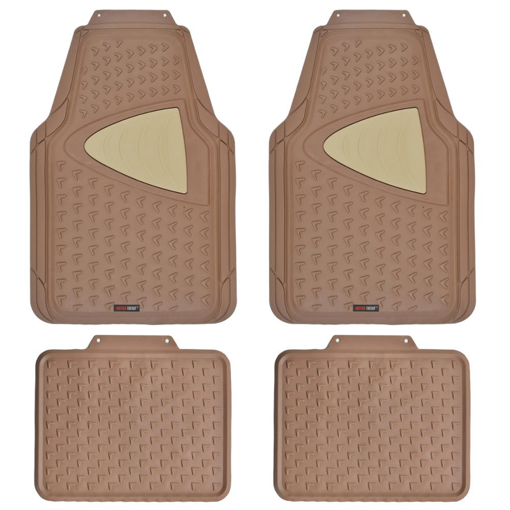 4 Piece Set Motor Trend MT644BGAMw1 Beige Eco-Clean Car Rubber Floor Mats-100/% Odorless 2 Tone Color Trimmable Fit