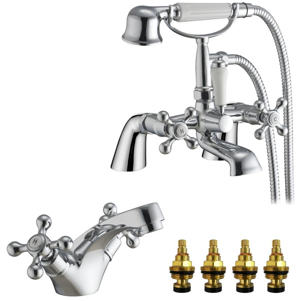 GrandTapz(TM) Traditional Dual Lever Bath and Basin Mixer Tap Set with Shower (Viscount 41)