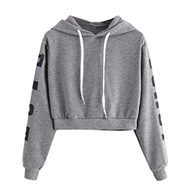 VESNIBA Womens Long Sleeve Hoodie Sweatshirt Letters Hooded Pullover Tops Blouse at Amazon Womens Clothing store: