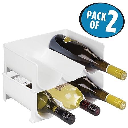 mDesign Juego de 2 botelleros apilables - Práctico organizador de ...