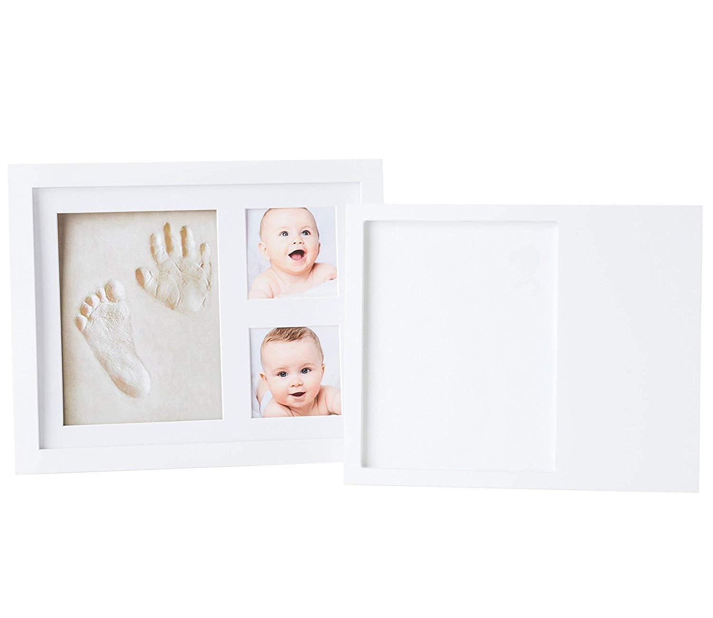 Primer A/ño y Baby Showers Regalo Original para Nacimientos Bautizos Marco para Fotos y Huellas de Beb/é No T/óxico Cuadro con Arcilla para Modelado de Manos y Pies de Ni/ños y Ni/ñas Cumple Mes