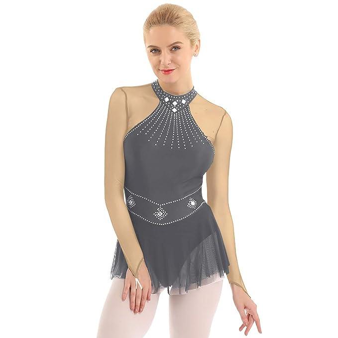 Agoky Vestido Tutú de Ballet Lentejuelas para Mujer Manga ...