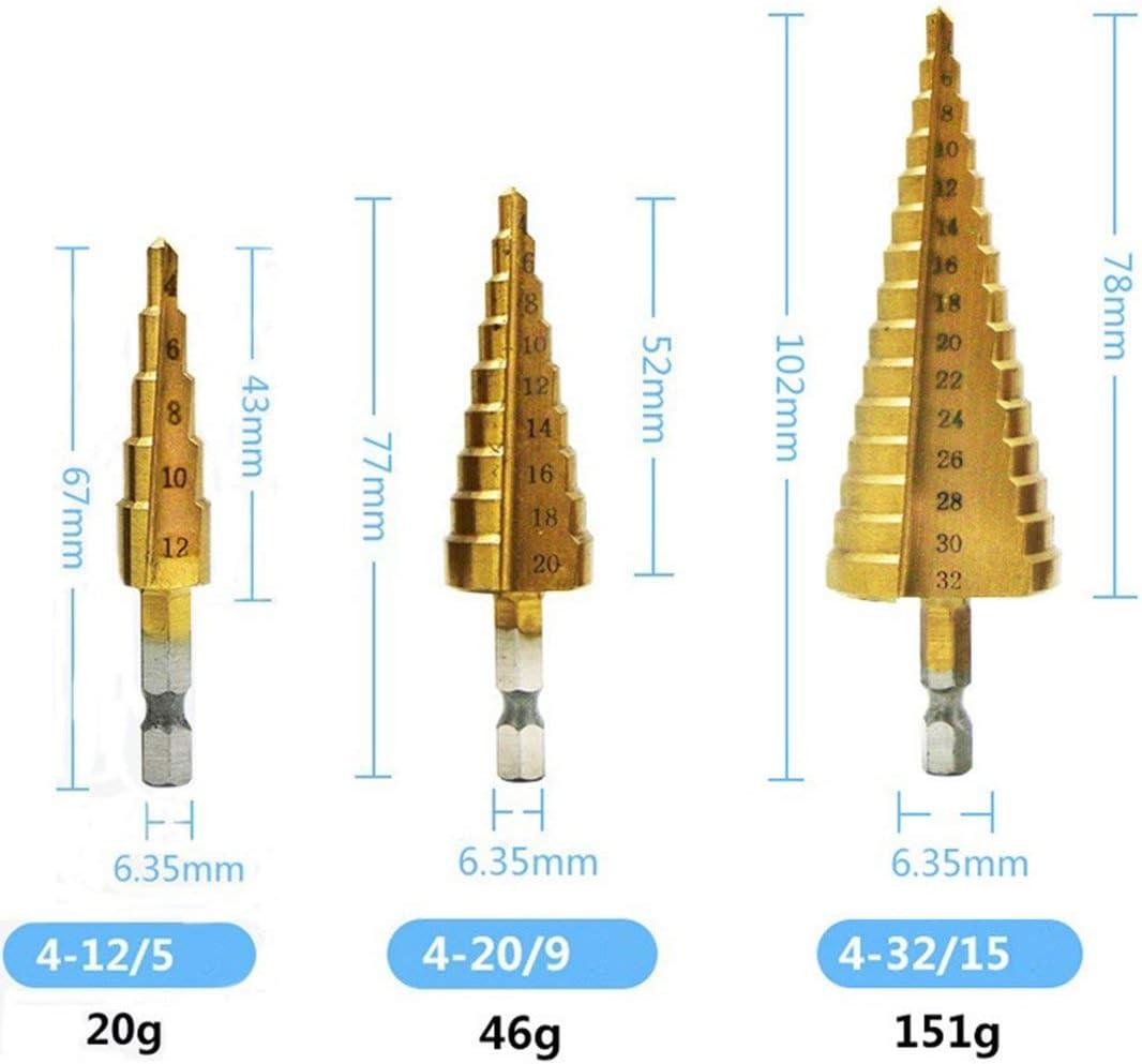 4241 Brocas escalonadas de ranura recta hexagonal Brocas multifunci/ón de ranura espiral chapadas en titanio ToGames-ES doradas