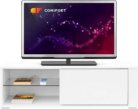 Oferta amazon: COMIFORT Mueble de TV - Mesa de Salón Moderno, Puerta con Sistema Click, Estante de Cristal Templado, Muy Resistente, Fabricado en Europa, Color Blanco