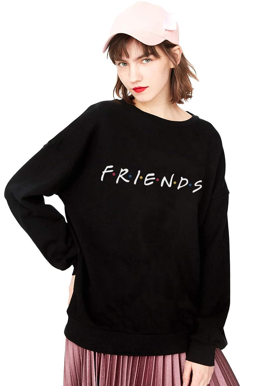 Best Friends Pullover Damen Sweater Rundhals Sister Brief Drucken Bluse Shirts Casual Oberteile Hemd Tops Liebhaber Freunde Outfit