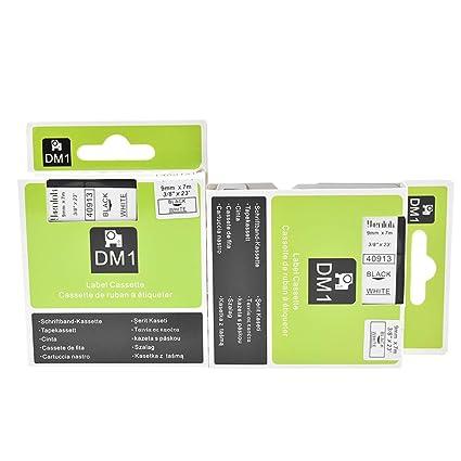 Drucker Pro Serie 2x Printer Schriftbänder für Dymo 40913 Schwarz auf Weiß 9mm