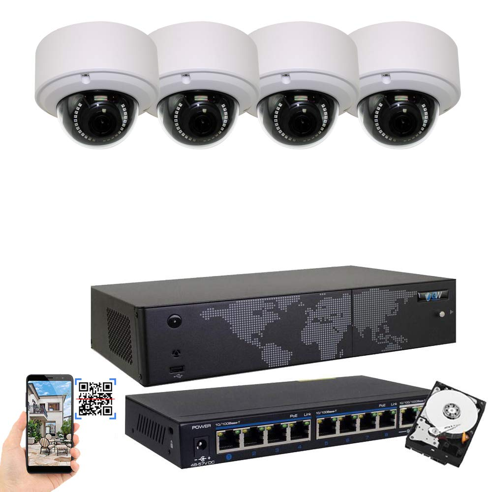 GW Security 8CH 4K NVR H.265 8MP IP Security Camera System – 4 x UltraHD 4K 8.0 Megapixel 2.8 12mm Varifocal Zoom PoE IP Dome Camera 2TB Hard Drive – Support ONVIF Quick QR Code Remote Access