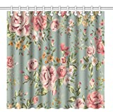 Pink and Green Shower Curtain Wknoon 72 x 72 Inch Shower Curtain,Vintage Girly Floral Seamless Pink Flowers with Green Leaves Art,Waterproof Polyester Fabric Decorative Bathroom Bath Curtains