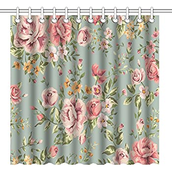 Amazon.com: Wknoon 72 x 72 Inch Shower Curtain, Vintage Floral ...