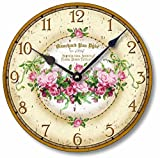 Fairy Freckles Studios Item C1100 Vintage Victorian Style 10.5 Inch Pink Roses Clock For Sale