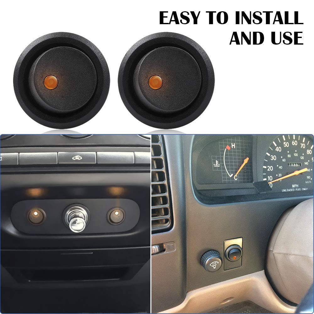 AutoEC 3pcs Car Truck Round Rocker Toggle Switch Yellow LED Light On-Off Switch