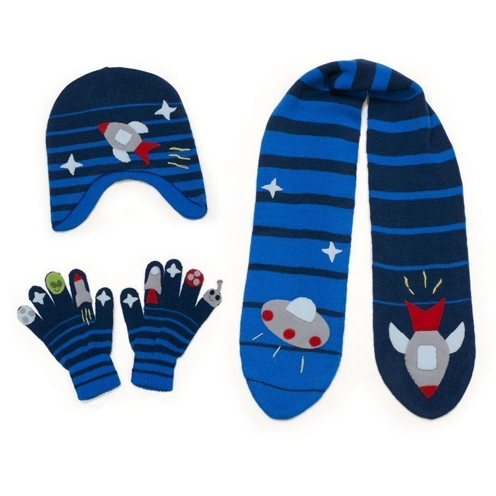 Kidorable Boys' Little Space Hero Hat Scarf Gloves Set, Blue, Medium