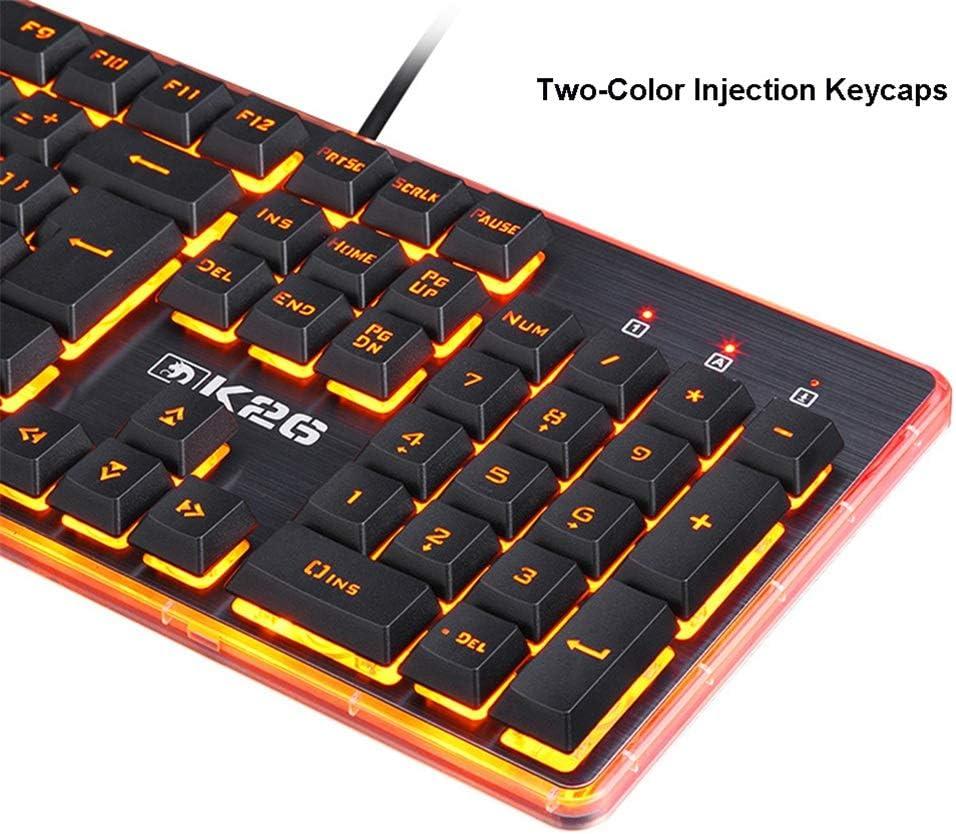JINXUXIONGDI Gaming Keyboard,Mechanical Feel Orange Breathing Backlight Multimedia Ergonomic USB Wired Game Keyboard for PCLaptop//Computer