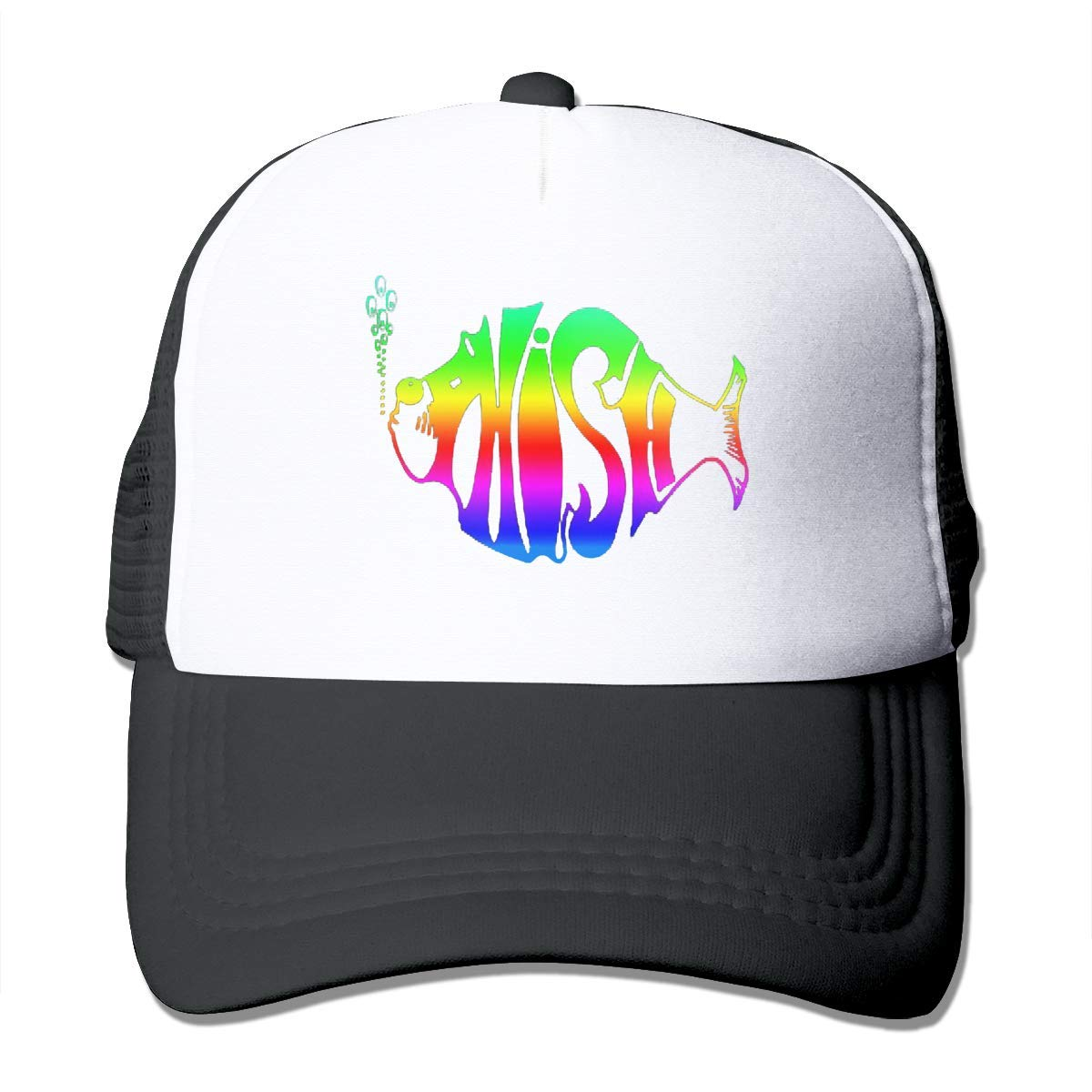 Classic Baseball Cap,Rainbow Phish Adjustable Two Tone Cotton Twill Mesh Back Trucker Hats Black