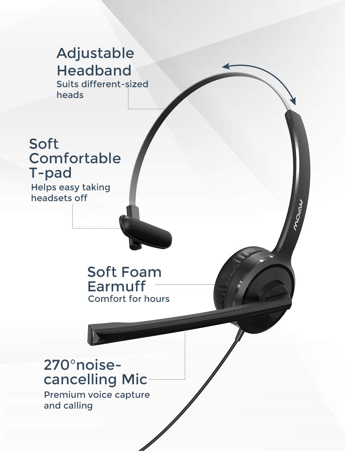 Mpow USB//3.5mm Headset Computer with Noise Cancelling Mic Stereo Wired Headphone
