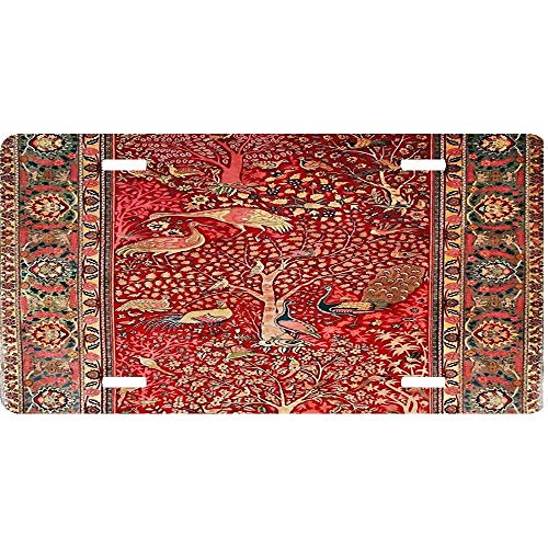 - Antique Persian Rug Bird Tree Flowers Personalized Novelty Front License Plates, Custom Decorative Car Tag Sign for US Vehicles