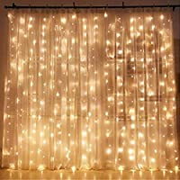 Twinkle Star 300 LED Window Curtain String Light Wedding Party Home Garden Bedroom Outdoor Indoor Wall Decorations, Warm...