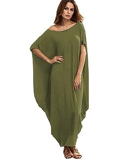 4d5b85429f2 Verdusa Women s One Off Shoulder Caftan Sleeve Harem Maxi Dress Olive Green  XL