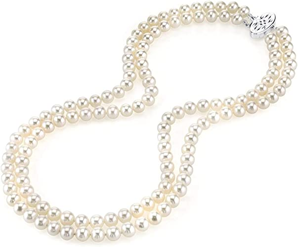 JYX Pearl Necklace AAA Quality Round White Freshwater Cultured Pearl Necklace for Women in 18 Princess Length