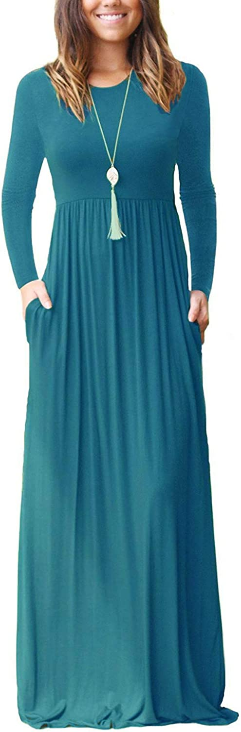 PCEAIIH Womens Casual Sleeveless//Long Sleeve Maxi Dress Loose Long Dresses with Pockets