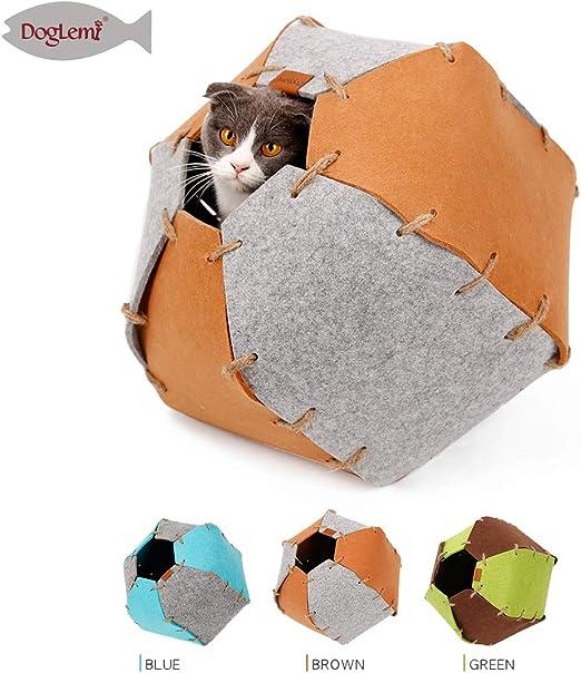 Doglemi Cama para Gato, Cueva para Gatos, 4 en 1, de Fieltro, Hecha a Mano, para Gatos Grandes, Gatitos, Perros pequeños: Amazon.es: Productos para mascotas