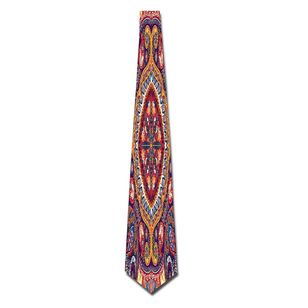 WuLion Arabic Ornamental Rug Pattern Inspired Design With Flowers And Leaves Men's Classic Silk Wide Tie Necktie (8 CM)