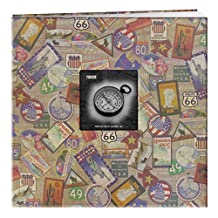 Pioneer 12-Inch by 12-Inch Travel Postbound Album with Photo Window, Travel Stickers