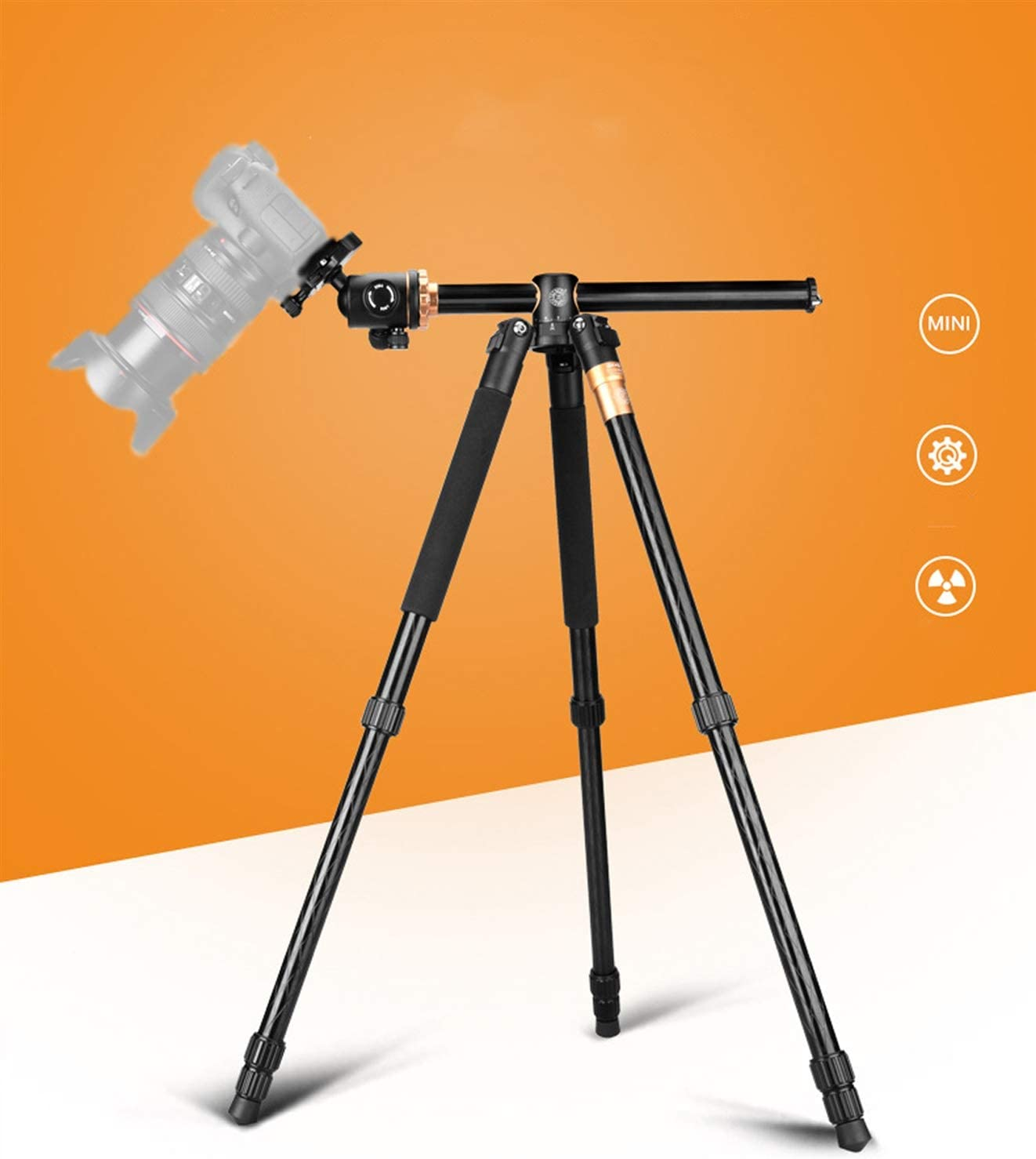 Universal Support for Macro Shooting in mounting Screws Color : Black LLluckyHW Tripod and monopod Suitable for Vlog Travel and Work 1//4